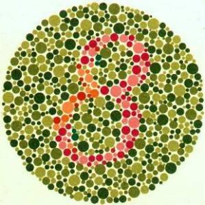 8 = normal, 3 = buta warna merah-hijau, tidak ada angka apapun = buta warna total
